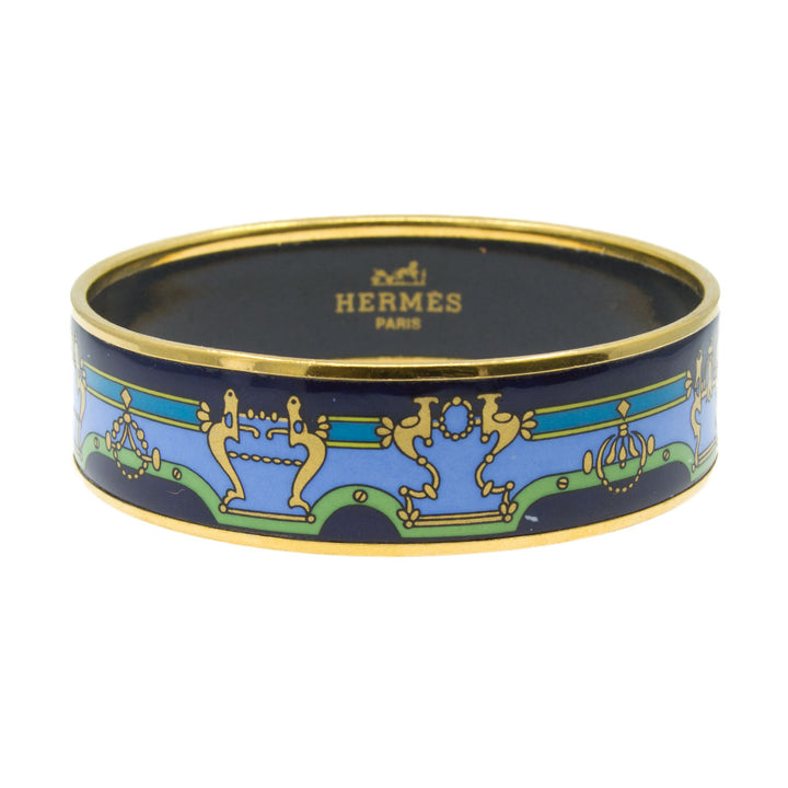 Hermes Blue Enamel Bangle Bracelet