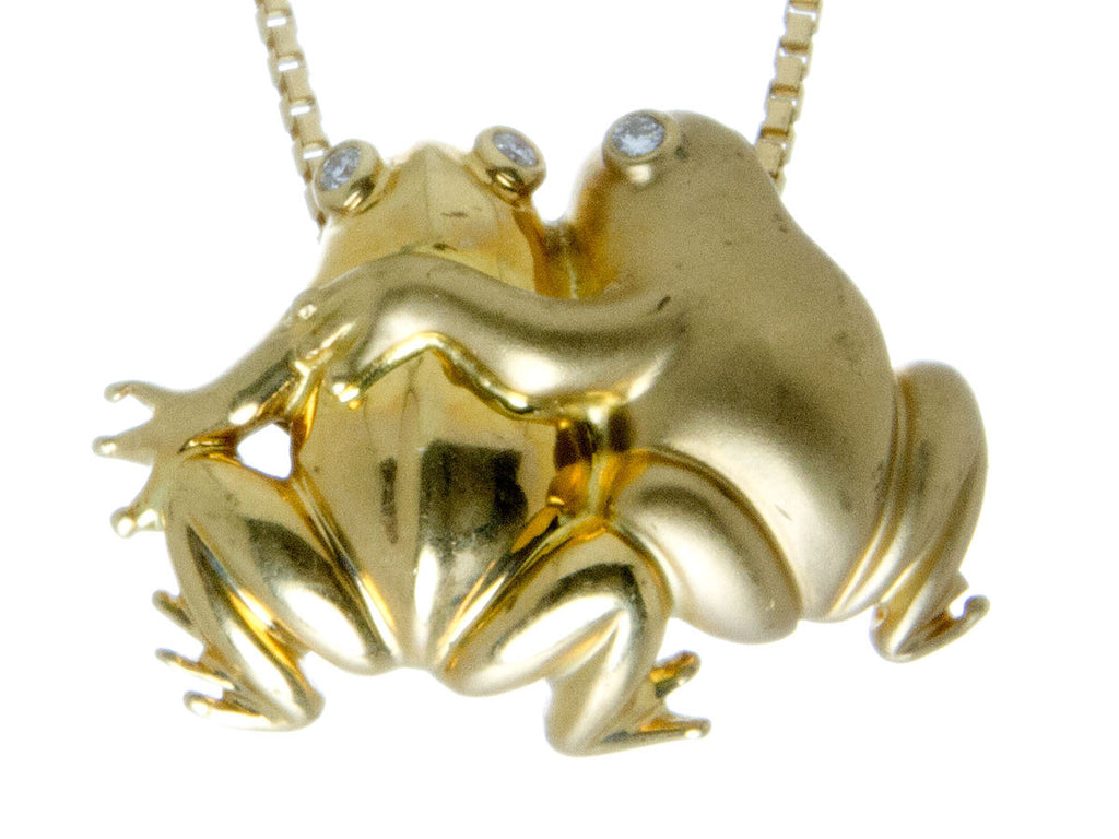 Loving Frogs Gold & Diamond Pendant with Chain
