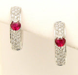 1.50ct Ruby & Diamond Hoop Earrings - Chicago Pawners & Jewelers
