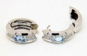 18kt Aquamarine & Diamond Earrings - Chicago Pawners & Jewelers