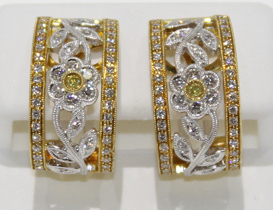 Yellow Diamond Floral Earrings
