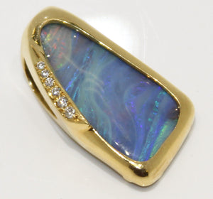 Estate 18K Opal & Diamond Slide Pendant - Chicago Pawners & Jewelers