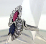 Art Deco Platinum 2.25ct Ruby Sapphire & Diamond Ring - Chicago Pawners & Jewelers