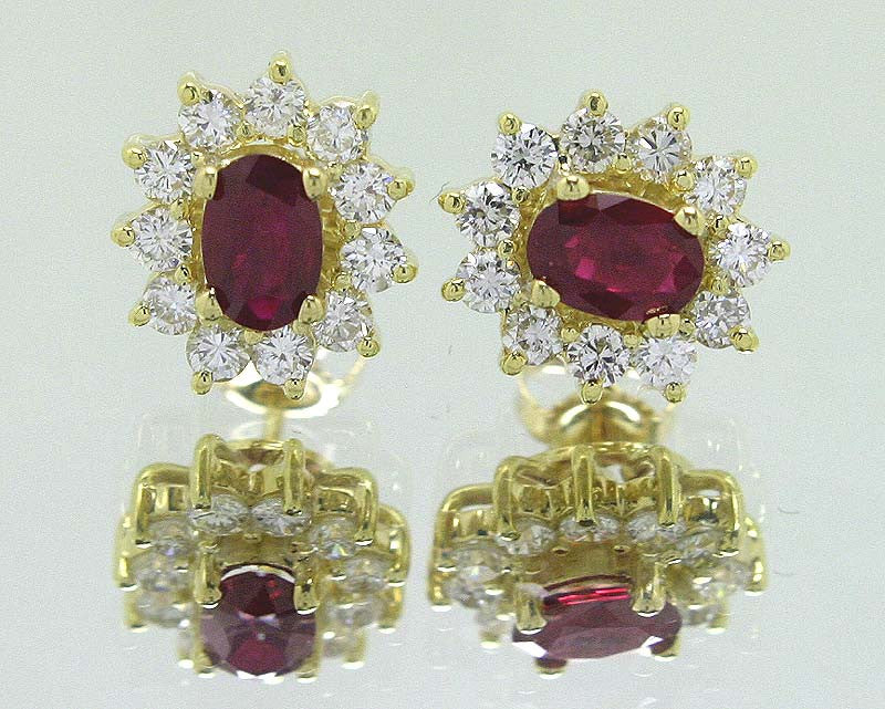 2.30ct Ruby & Diamond Earrings - Chicago Pawners & Jewelers