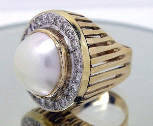 Estate Mabe Pearl & Diamond Ring - Chicago Pawners & Jewelers