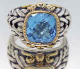 Designer Silver & 18KT Gold Blue Topaz Ring - Chicago Pawners & Jewelers
