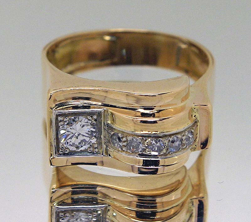 1940s Retro Diamond Ring in 18KT Gold - Chicago Pawners & Jewelers