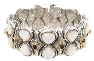Konstantino Silver & 18kt Gold Mother of Pearl & Garnet Bracelet
