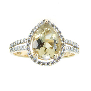 Lemon Citrine & Diamond Ring by Kristina