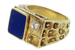 1970s Lapis & Diamond Ring by La Triomphe - Chicago Pawners & Jewelers