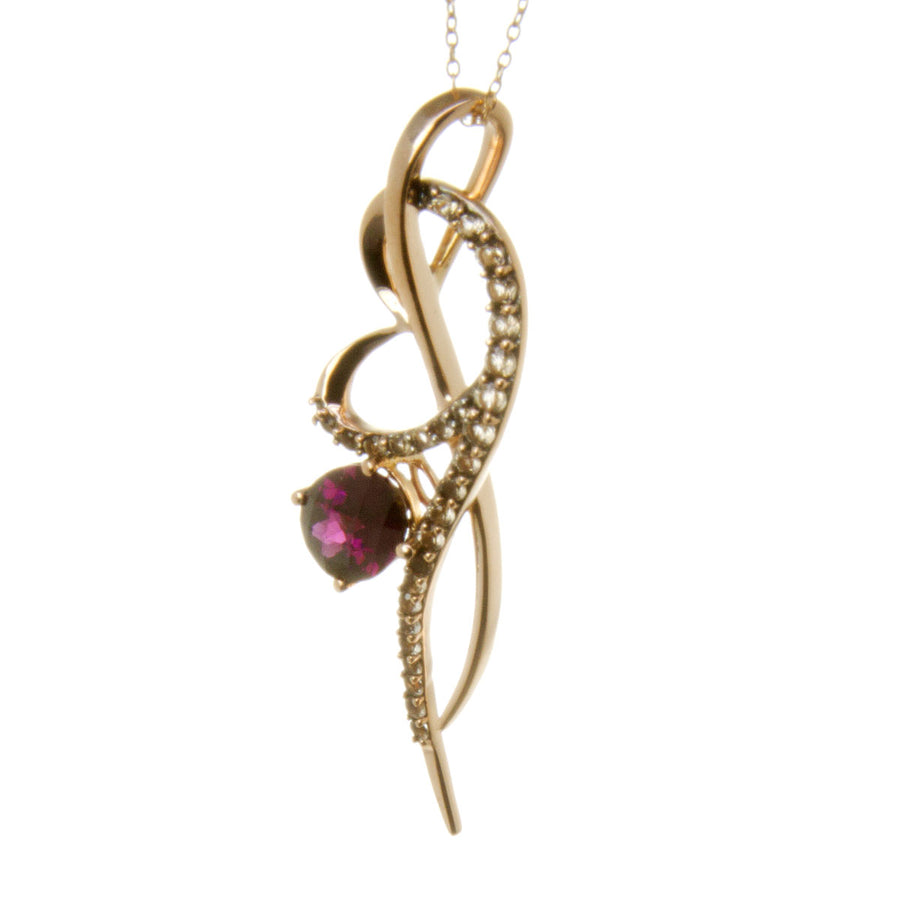 LeVian Amethyst & Chocolate Quartz Rose Gold Necklace - Chicago Pawners & Jewelers