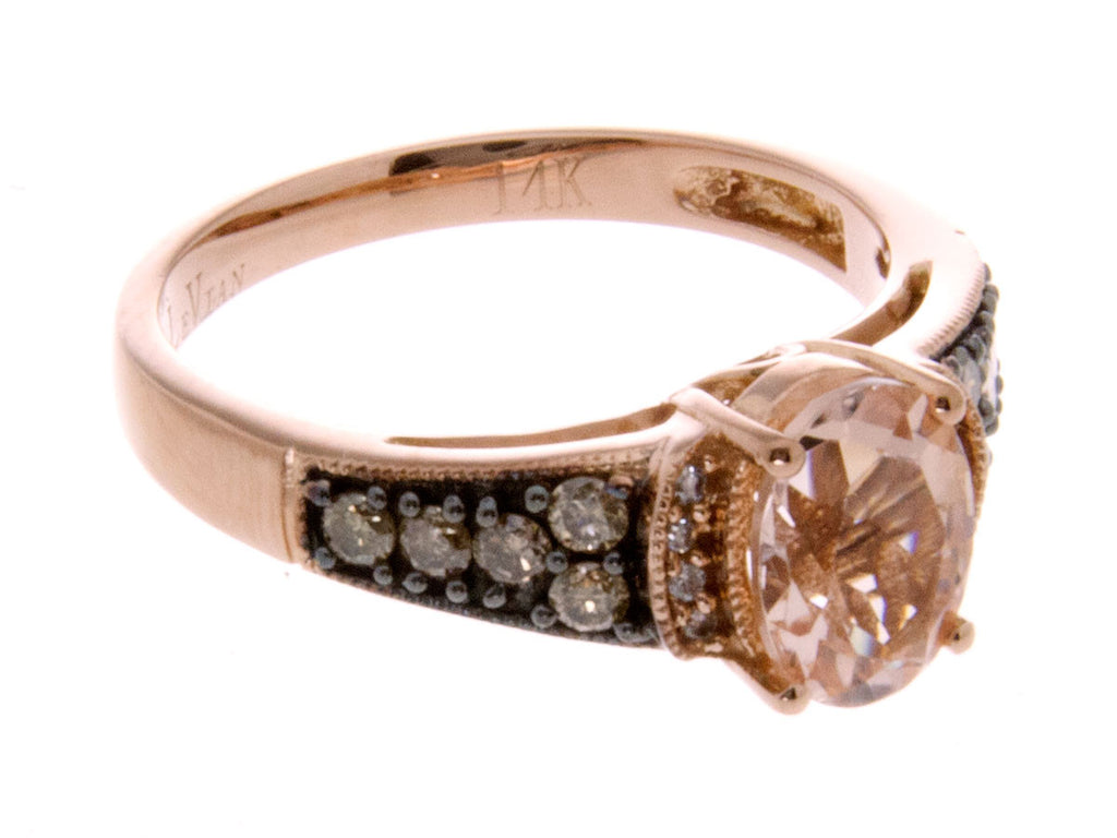 LeVian Morganite & Chocolate Diamond Ring – Chicago Pawners & Jewelers