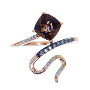 LeVian Chocolate Quartz & Diamond Snake Ring