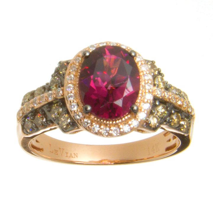 LeVian Rhodolite Garnet Chocolate & White Diamond Ring - Chicago Pawners & Jewelers