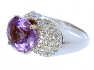 Large 12.80ct Amethyst & Diamond Ring - Chicago Pawners & Jewelers