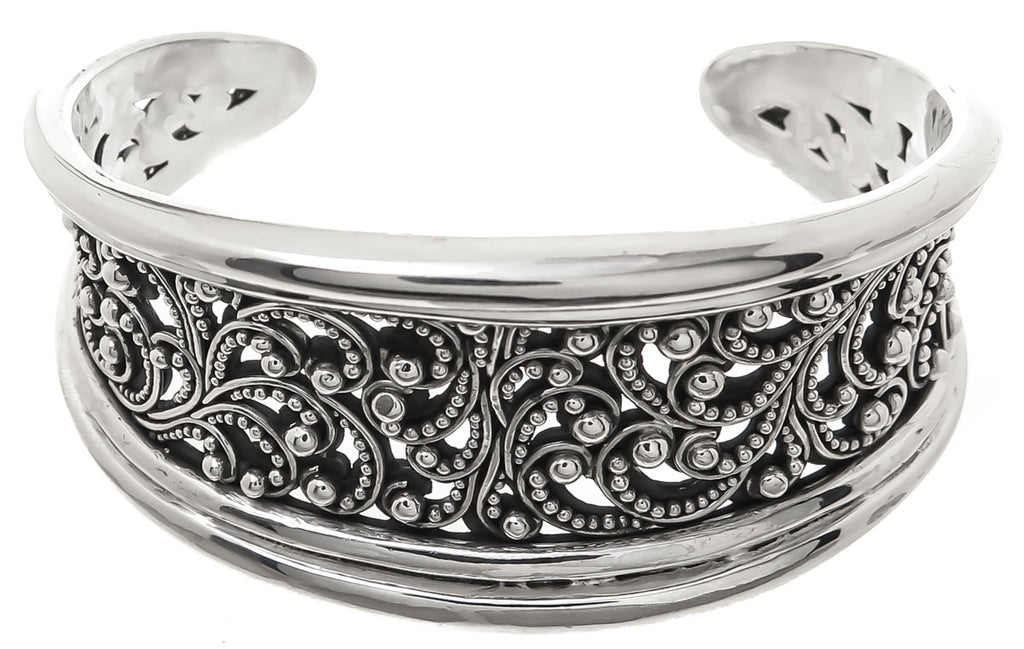 Lois Hill Scroll Caviar Bead Cuff Bracelet