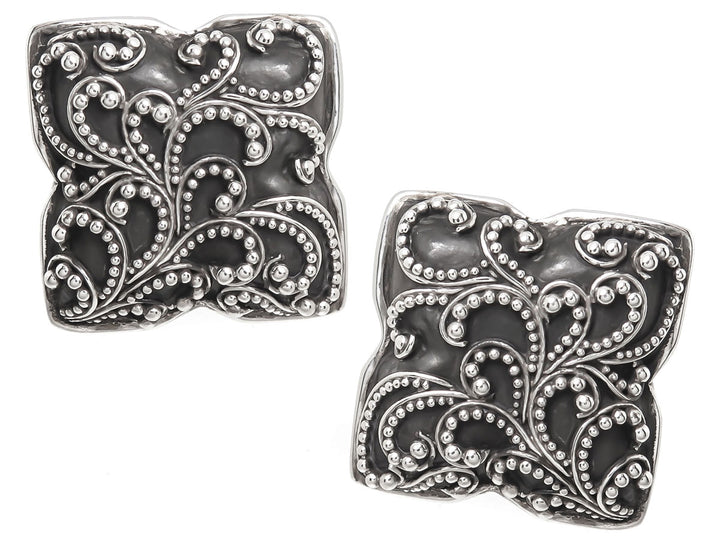 Lois Hill Scroll Caviar Bead Ear Clips - Chicago Pawners & Jewelers