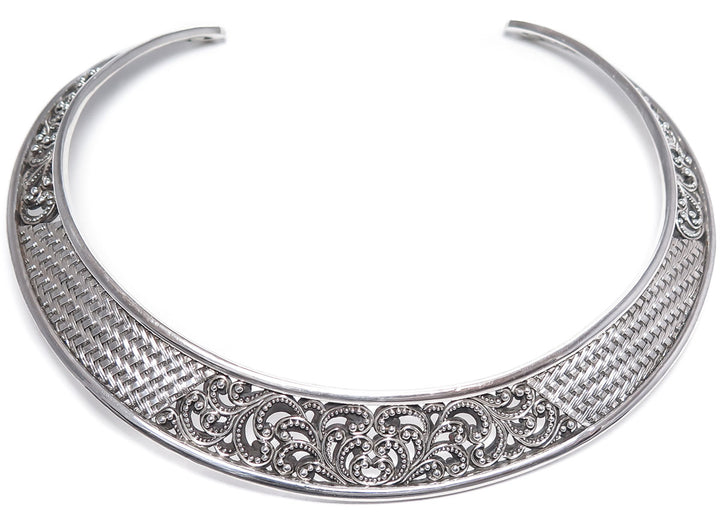 Lois Hill Scroll Caviar Bead Neck Cuff/Collar Necklace