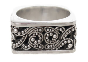 Lois Hill Scroll Caviar Bead Ring