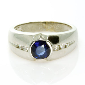 Men's 1.65ct Sapphire & Diamond Ring - Chicago Pawners & Jewelers