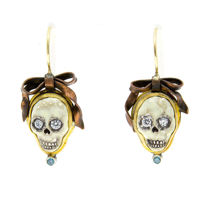 Skull & Bows Diamond Earrings by Melinda Risk