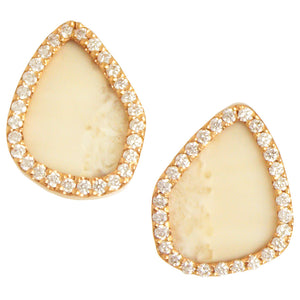Monique Péan Fossilized Walrus Ivory & Diamond Earrings - Chicago Pawners & Jewelers