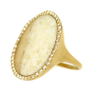 Monique Péan Fossilized Walrus Ivory & Diamond Ring - Chicago Pawners & Jewelers