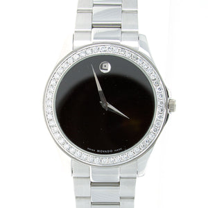 Movado Museum Watch with 2.50ct Diamond Bezel