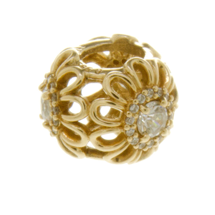 Pandora 14k Gold CZ Flower Charm - Chicago Pawners & Jewelers