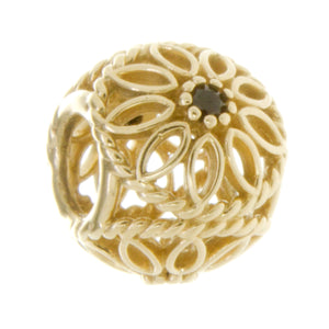 Pandora 14k Gold Flower Charm with Black Crystal - Chicago Pawners & Jewelers