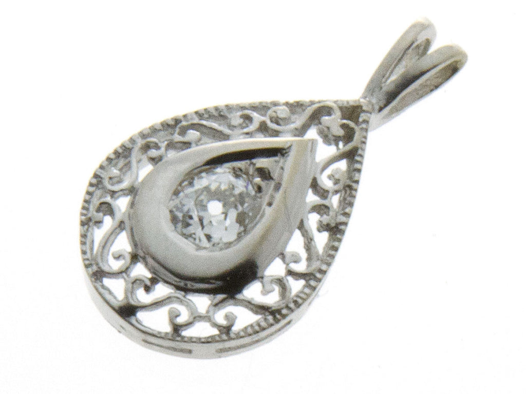 Estate Tear Drop Filigree Diamond Pendant