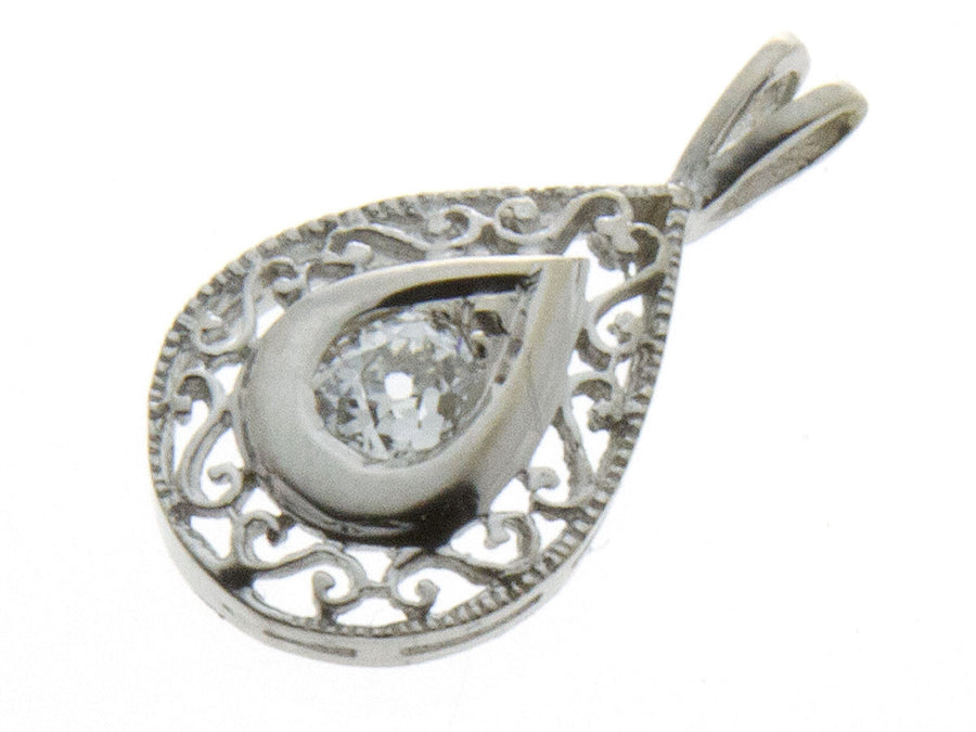 Estate Tear Drop Filigree Diamond Pendant - Chicago Pawners & Jewelers