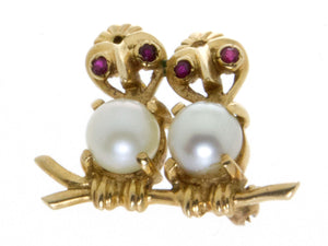 Estate Ruby & Pearl Lovebirds Pin - Chicago Pawners & Jewelers
