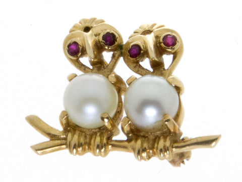 Estate Ruby & Pearl Lovebirds Pin