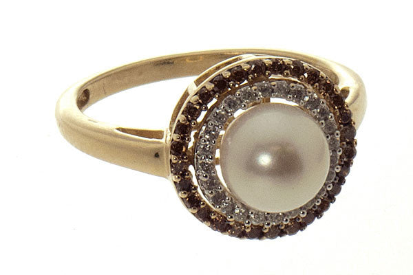 Pearl & Champagne Diamond Ring
