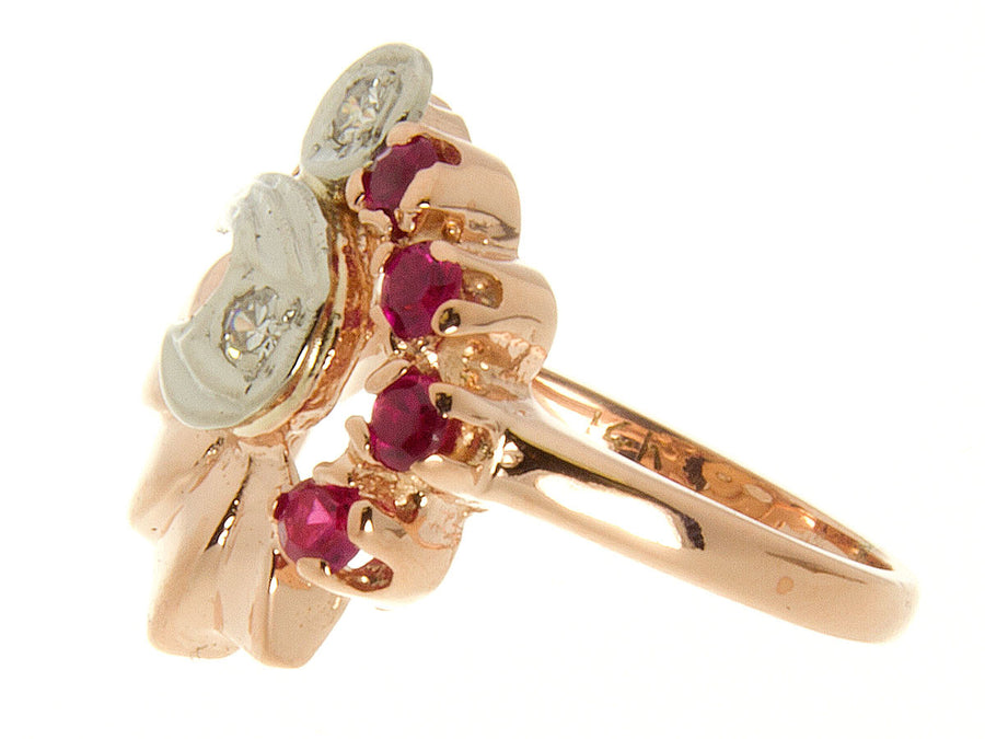 1940s Retro Pink Gold Diamond & Ruby Ring - Chicago Pawners & Jewelers