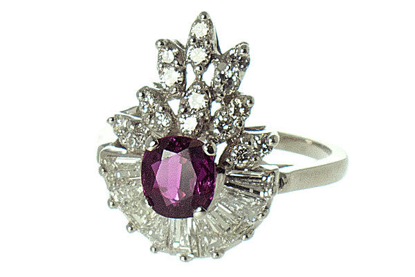 1950s Pink Tourmaline & Diamond Cocktail Ring - Chicago Pawners & Jewelers