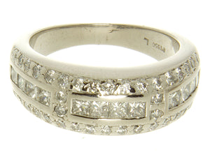 Platinum 1.00ct Princess & Round Diamond Band Ring