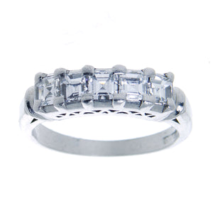 Vintage 1.15ct Emerald Cut Diamond Anniversary Band