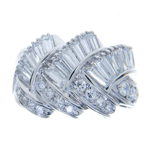 Platinum 1.70ct Round & Baguette Diamond Band Ring