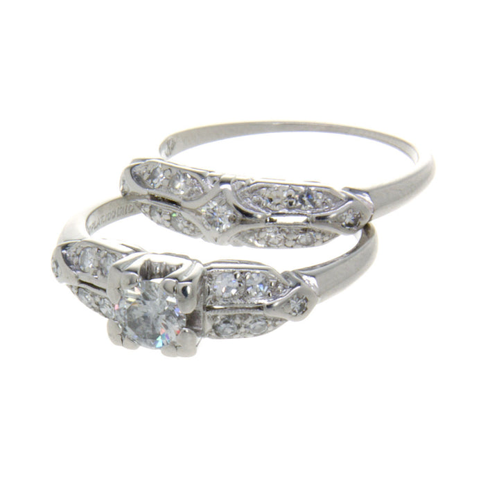1950s Platinum Diamond Wedding Set