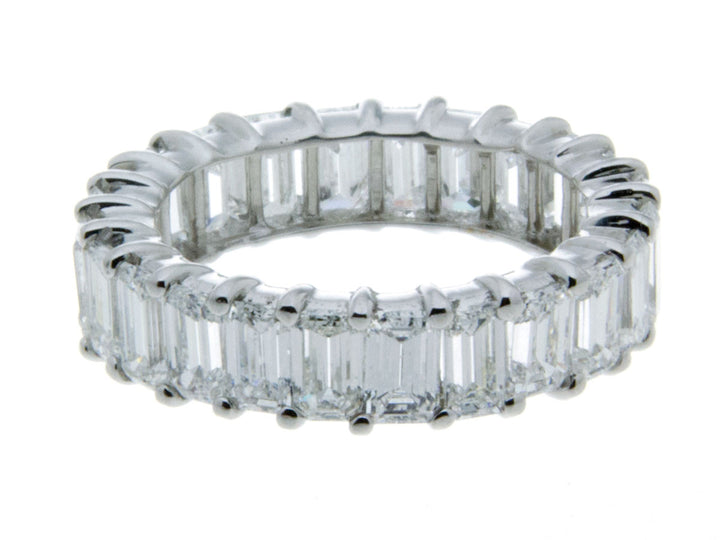 Platinum & Emerald Cut Diamond Eternity Band