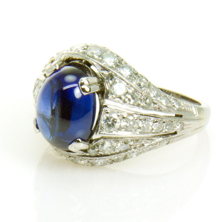 Art Deco 5.73ct Sapphire & Diamond Ring - Chicago Pawners & Jewelers