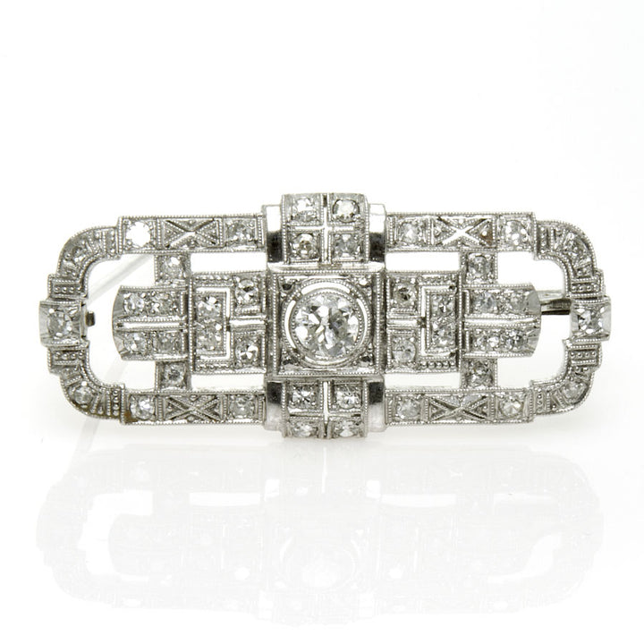1930s Art Deco Platinum & Diamond Brooch