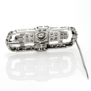 1930s Art Deco Platinum & Diamond Brooch - Chicago Pawners & Jewelers