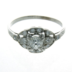 Art Deco Platinum Diamond Engagement Ring - Chicago Pawners & Jewelers