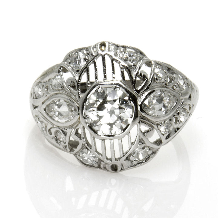 Art Deco Platinum & Diamond Engagement Ring - Chicago Pawners & Jewelers