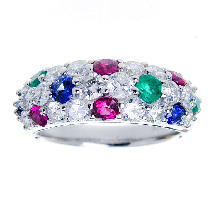 Platinum Diamond Ruby Sapphire & Emerald Ring