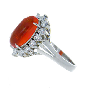 Mexican Fire Opal & Diamond Ring