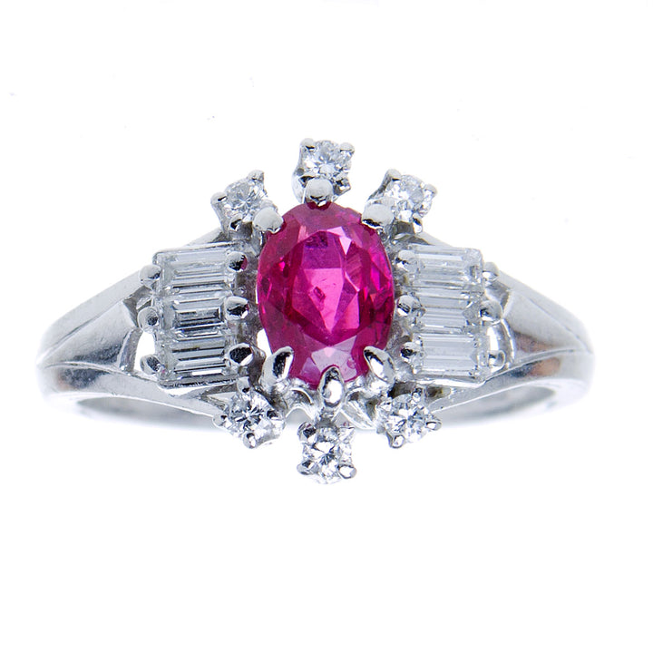 1950s Platinum 1.53ct Ruby & Diamond Ring - No Heat Burma